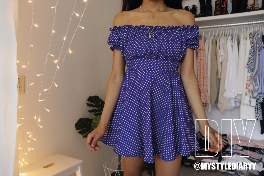 DIY off the shoulder dress | Very easy Dresses cutting and sewing | easy sewing